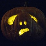 My jack o'lantern, all lit up. Halloween 2010.