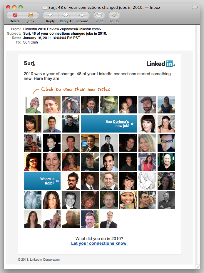 Screenshot of personalized email from LinkedIn.