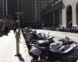 Motorbikes parked in the Financial District, San Francisco