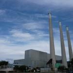 Big power plant smokestacks at Morro Bay.