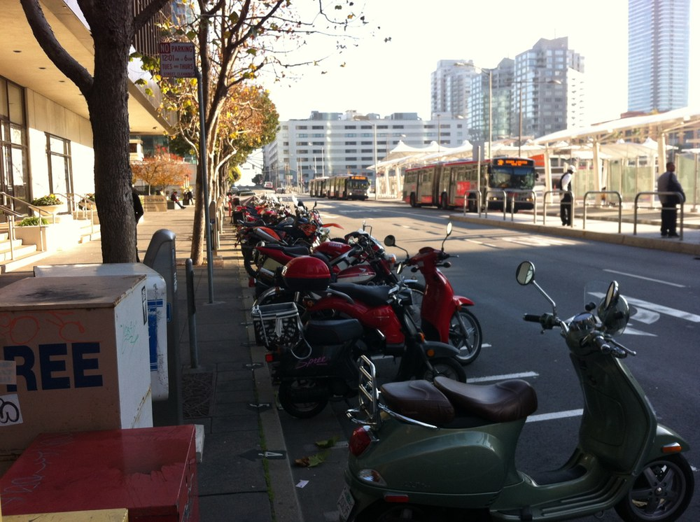 Motorbikes parked in San Francisco in December