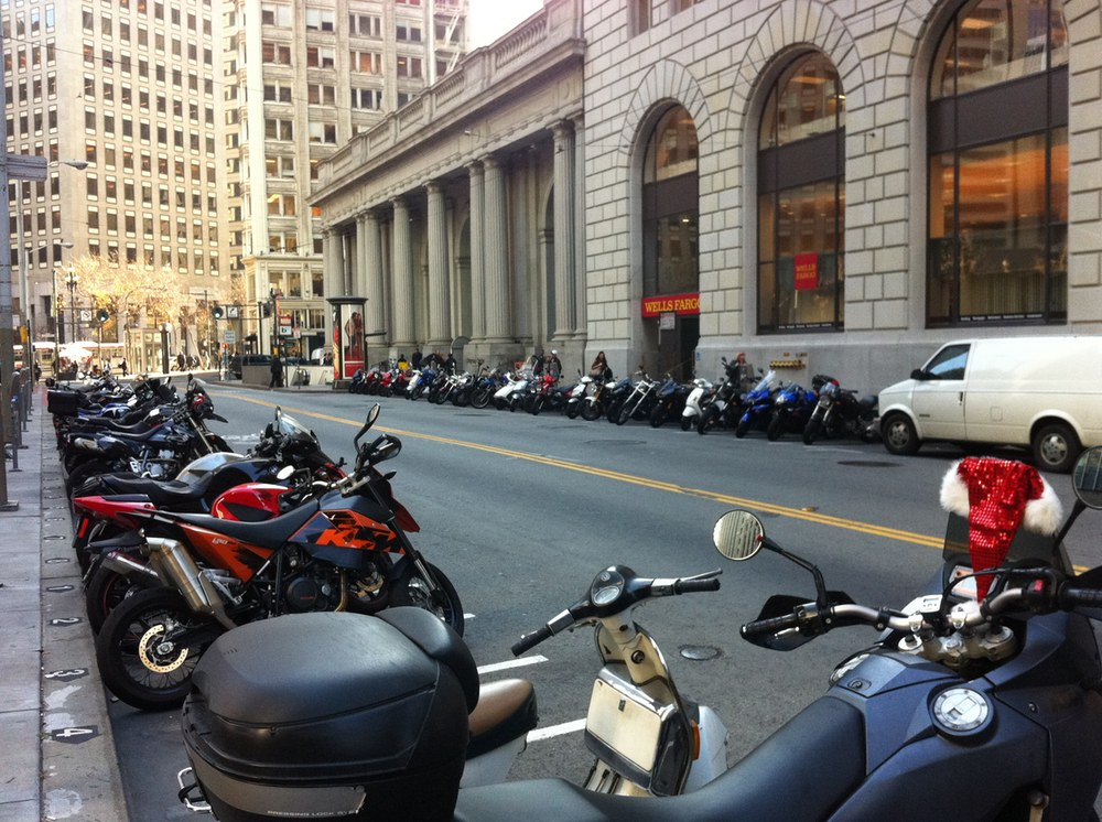 Motorbikes parked in San Francisco in December