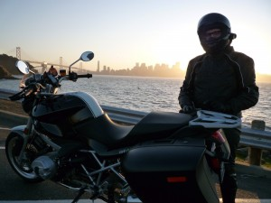 Treasure Island view of San Francisco + BMW R1200R.
