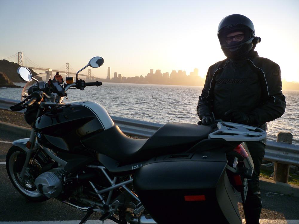 Treasure Island view of San Francisco + BMW R1200R.